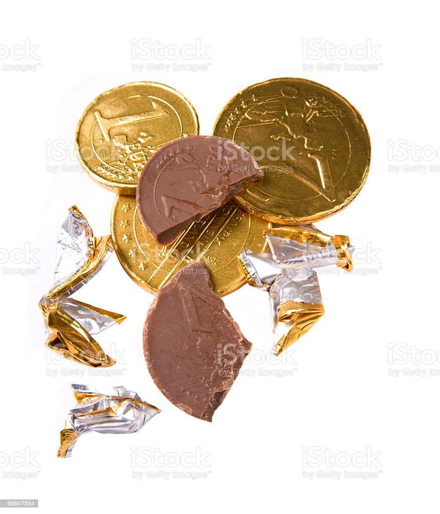 Chocolate coins nibbled stock photo