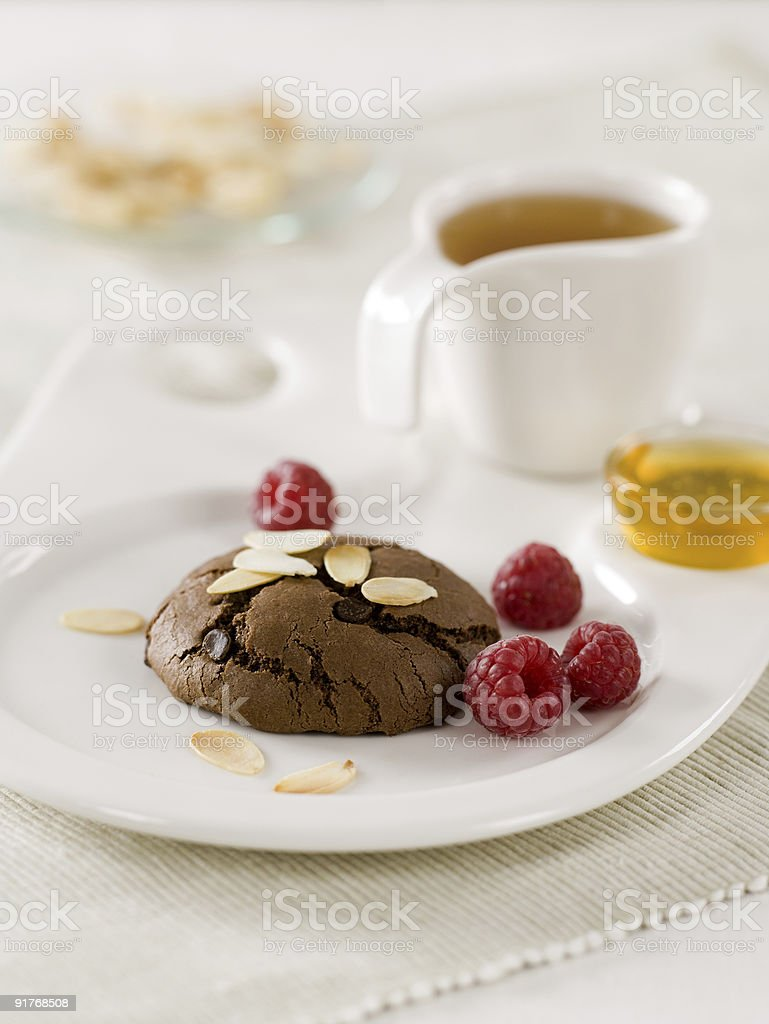 Chocolate cookie and tea royalty-free stock photo