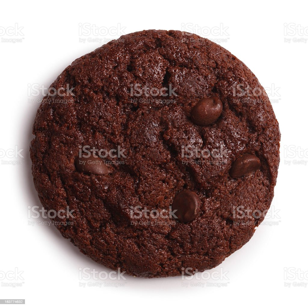 Chocolate Cookie Isolated + Clipping Path royalty-free stock photo