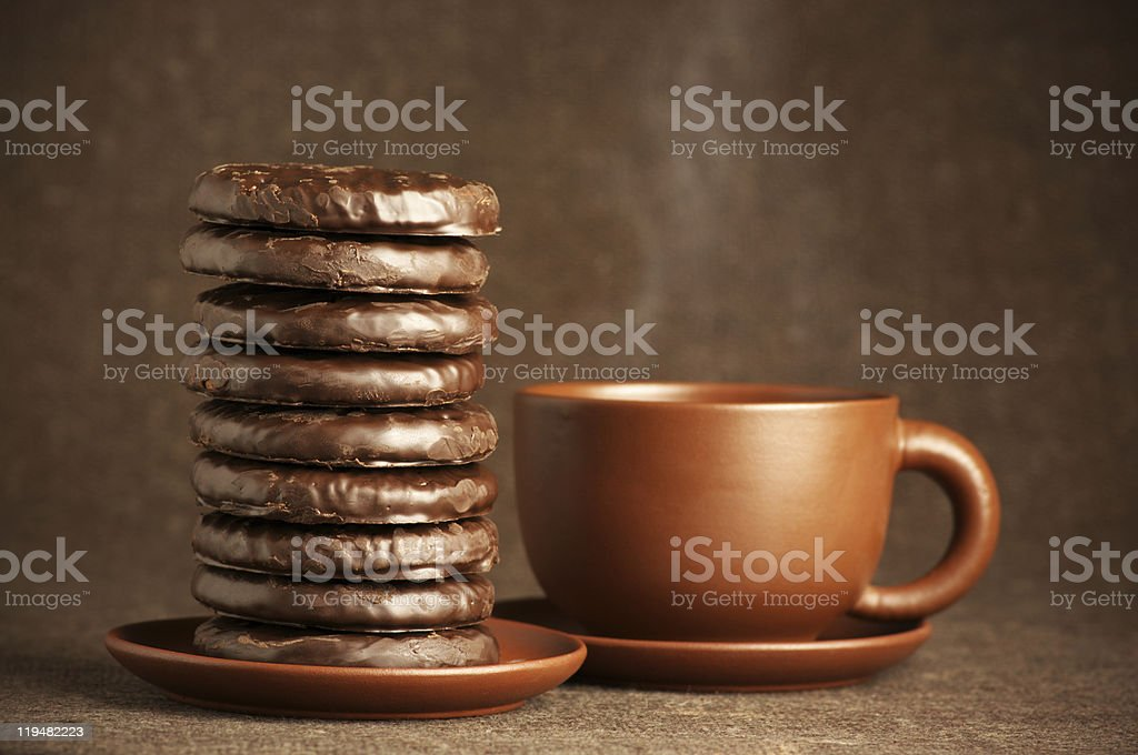 Chocolate cookies and coffee royalty-free stock photo
