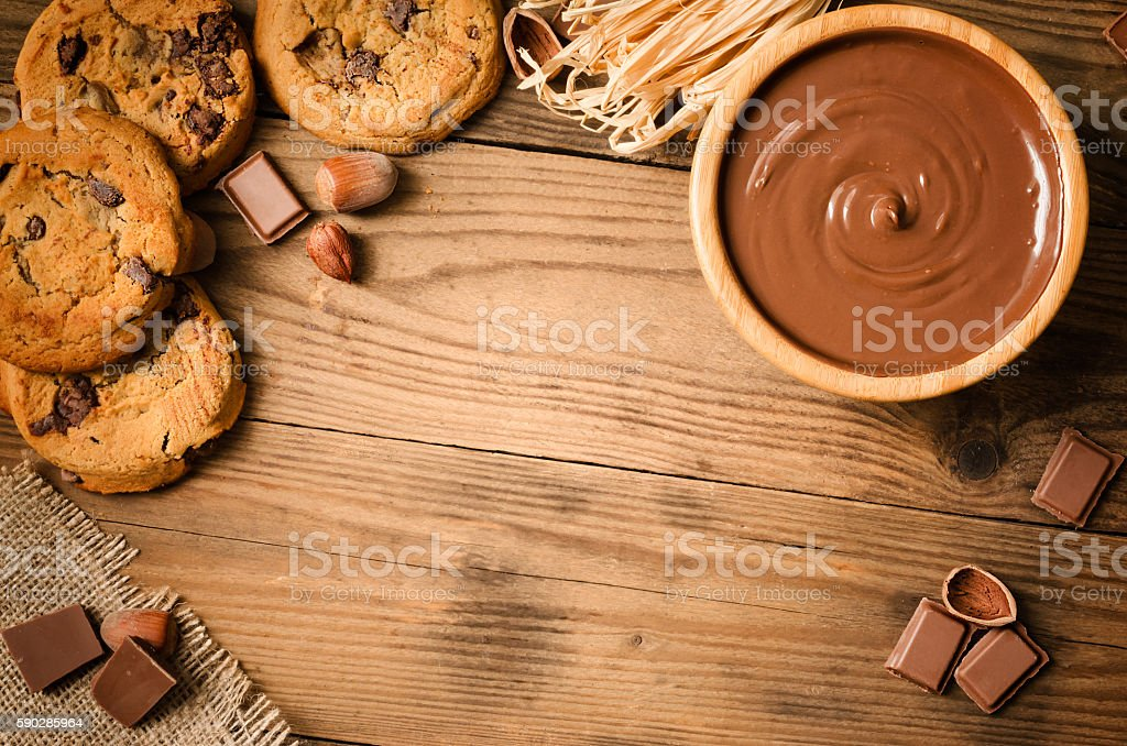 Chocolate cookies and ingredients - Top view stock photo