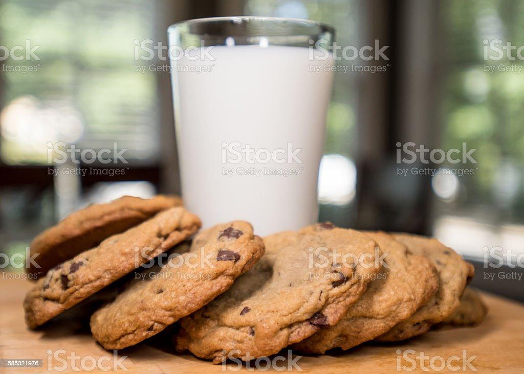 Chocolate Cookies Around a Glass of Milk Horizontal stock photo