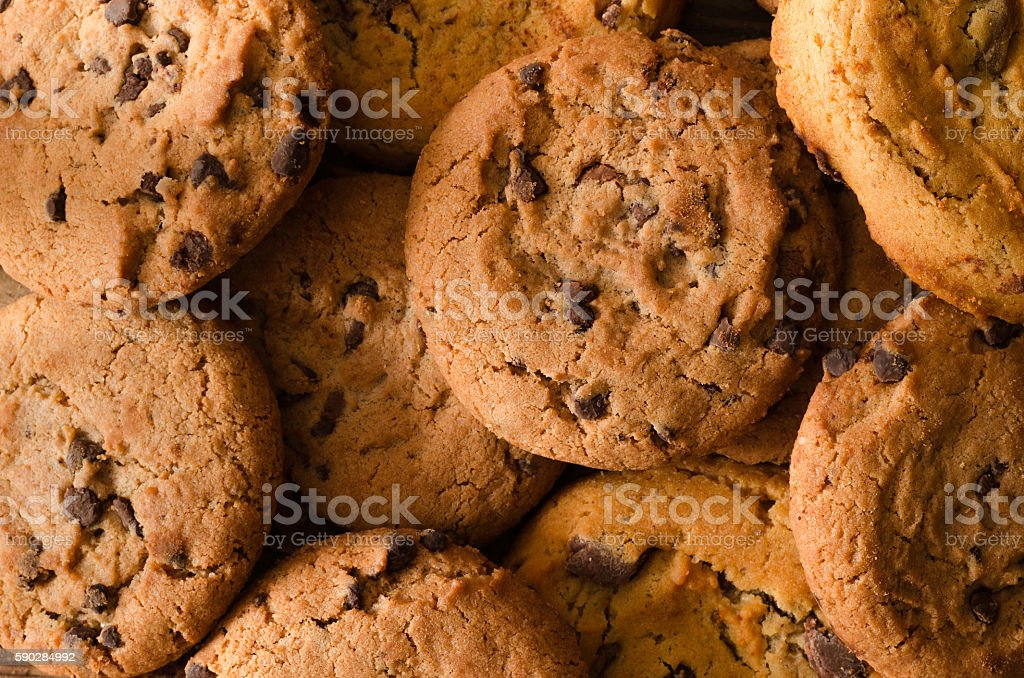 Chocolate cookies background - Top view stock photo