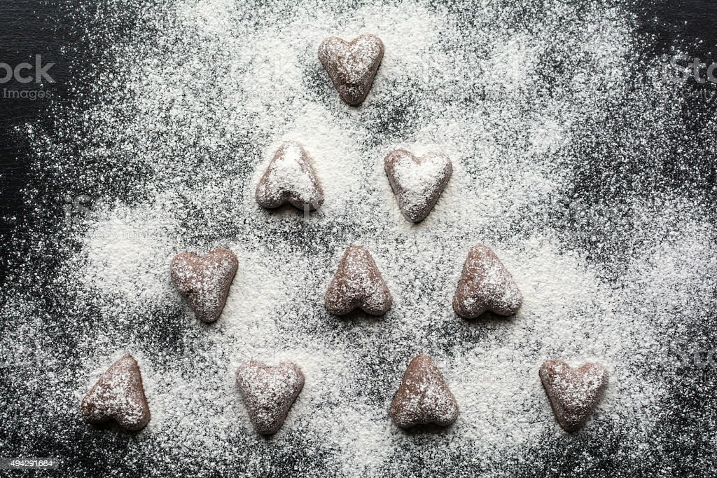 Chocolate Cookies, Christmas Background stock photo
