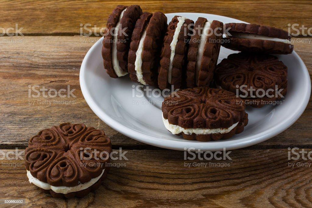 Chocolate cookies sandviches stock photo