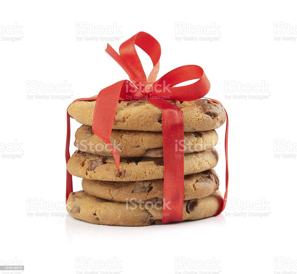chocolate cookies tied red ribbon royalty-free stock photo