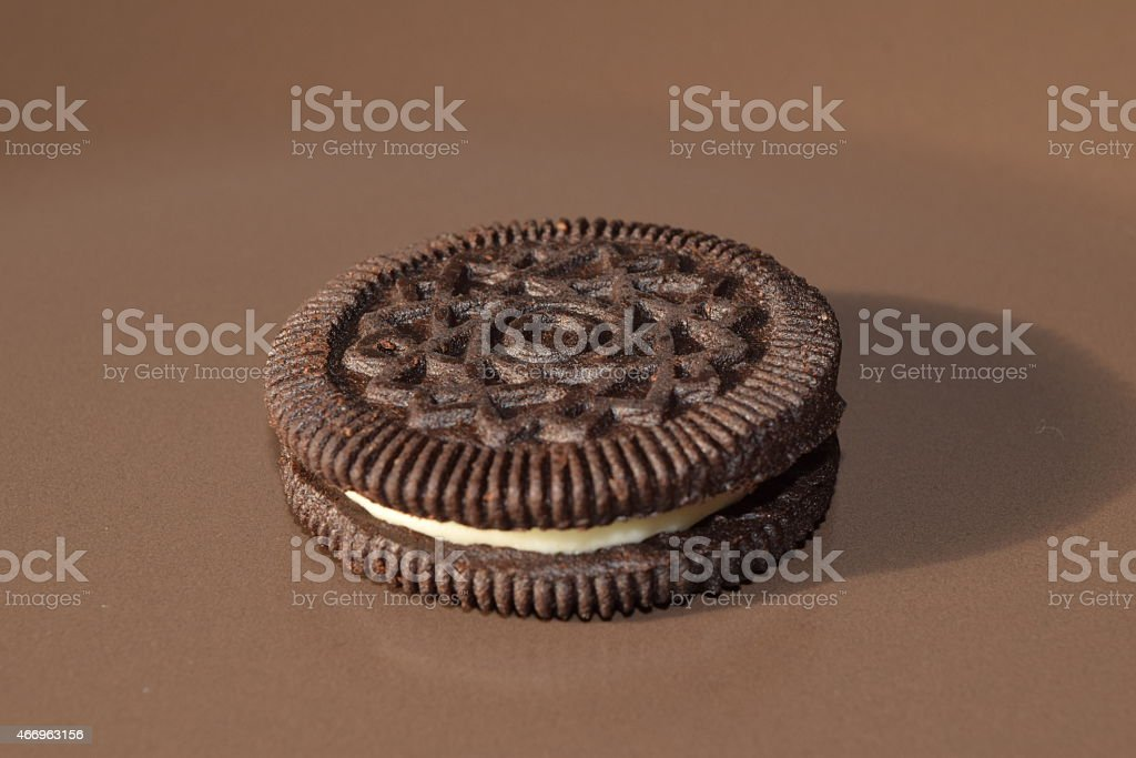 Chocolate cookies with cream filling. stock photo