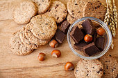 Chocolate cookies with hazelnuts
