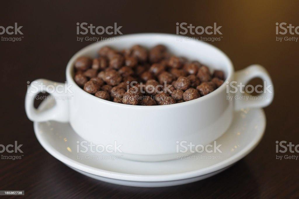 Chocolate corn flakes with milk royalty-free stock photo
