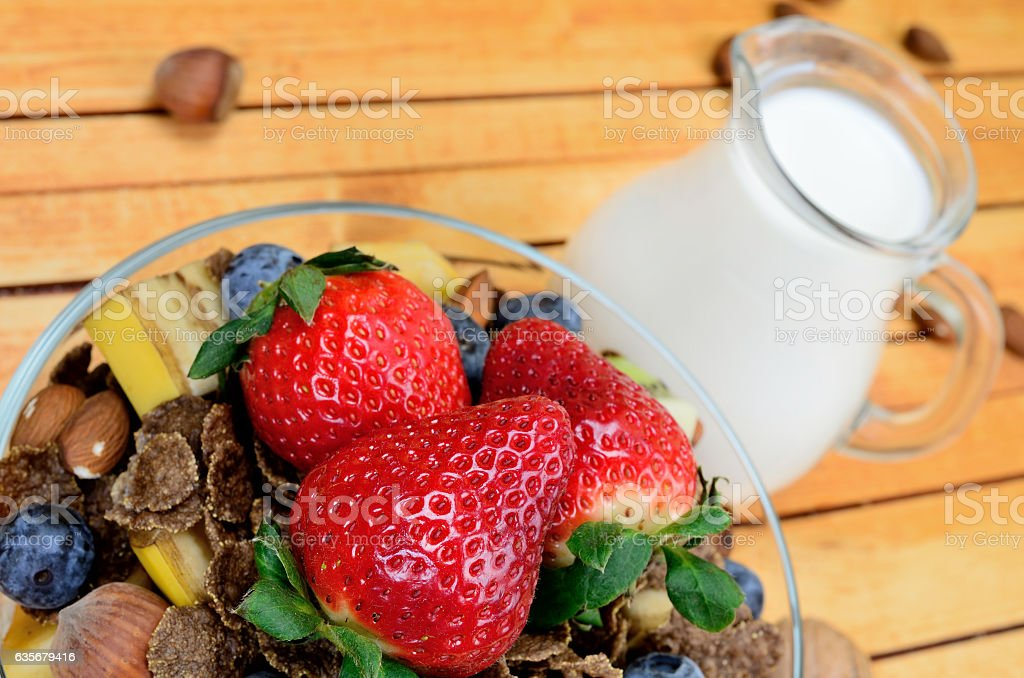 chocolate cornflake on table stock photo