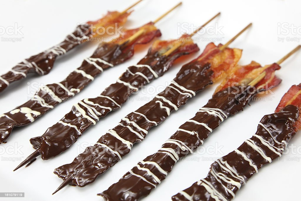 Chocolate covered bacon royalty-free stock photo