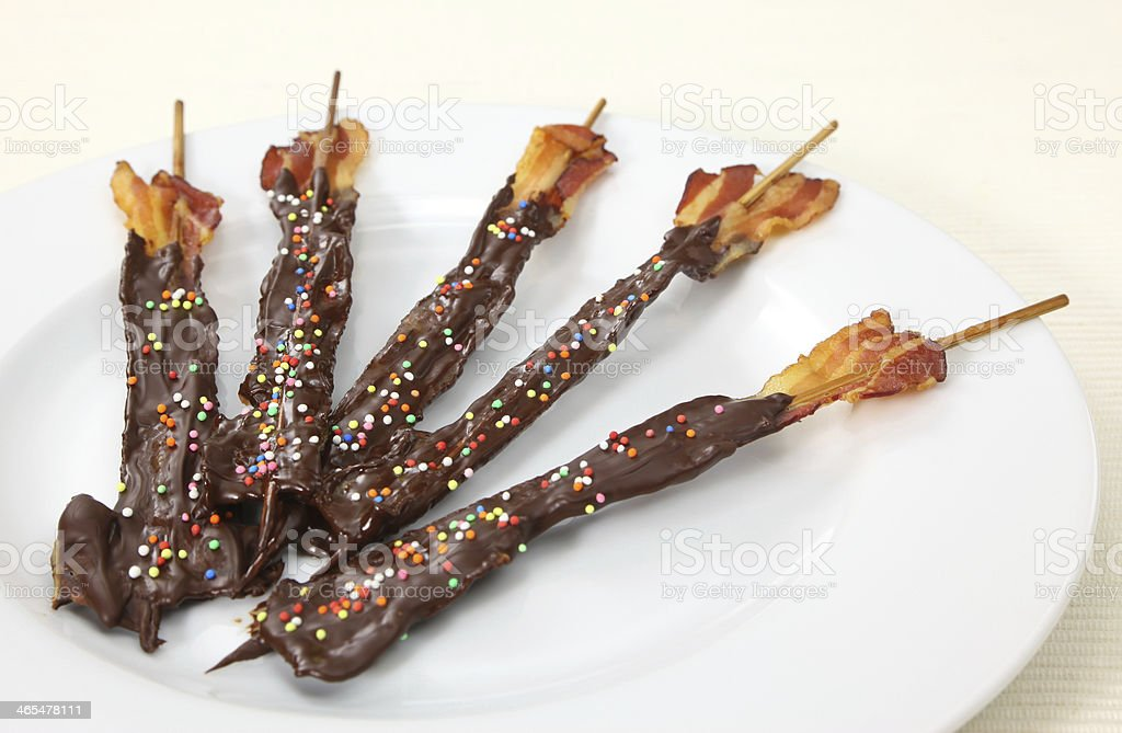 Chocolate covered bacon stock photo