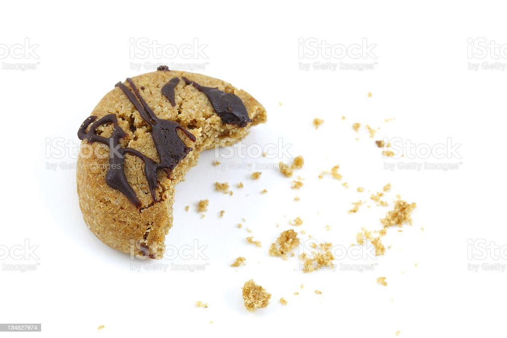 Chocolate covered cookie crumbs bite on white stock photo