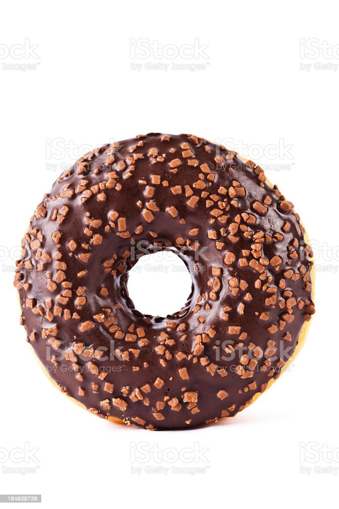 Chocolate covered donut with nuts stock photo