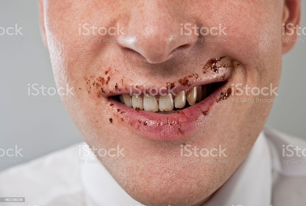 chocolate covered mouth royalty-free stock photo