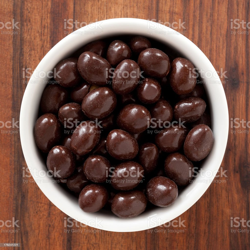 Chocolate covered nuts stock photo