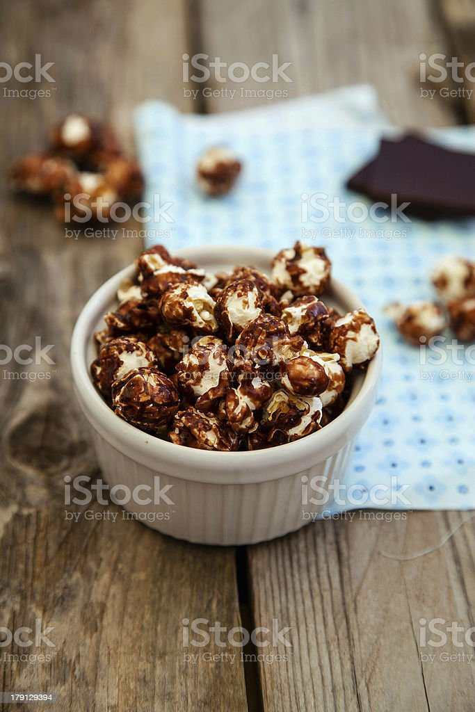 Chocolate covered popcorn royalty-free stock photo