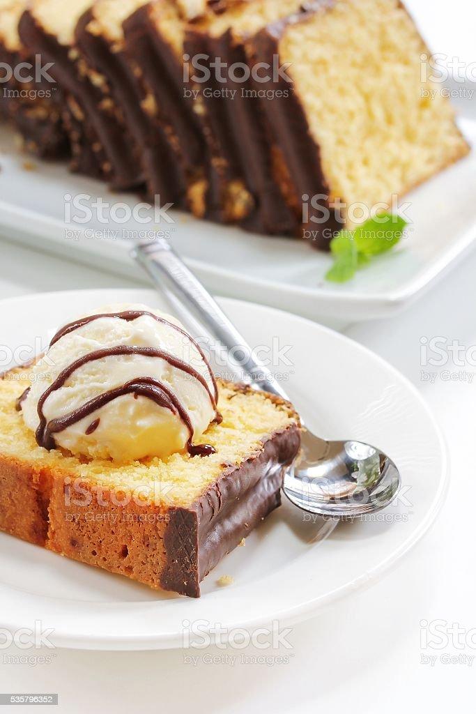 Chocolate covered pound cake stock photo