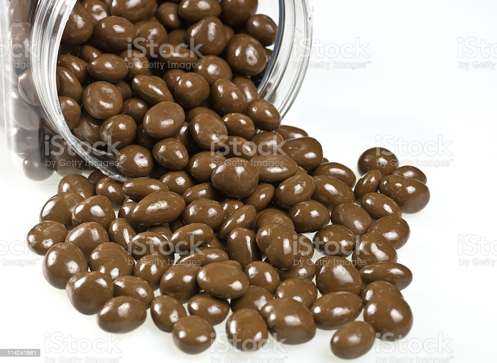 Chocolate covered raisins stock photo