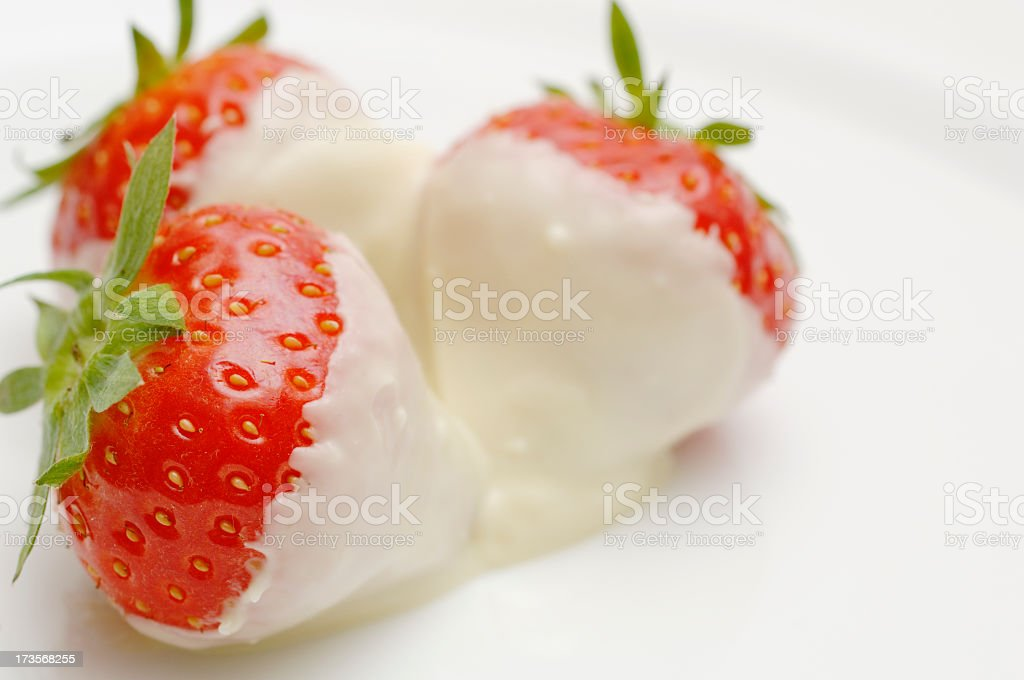 Chocolate covered strawberries on a white plate royalty-free stock photo