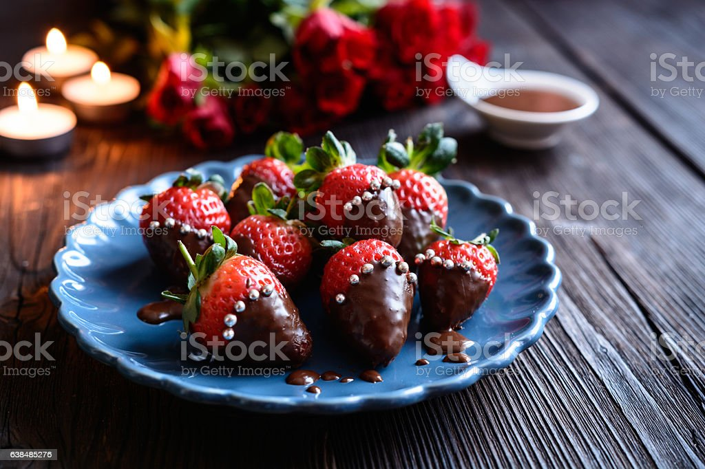 Chocolate covered strawberries with sprinkles for Valentine's Day stock photo
