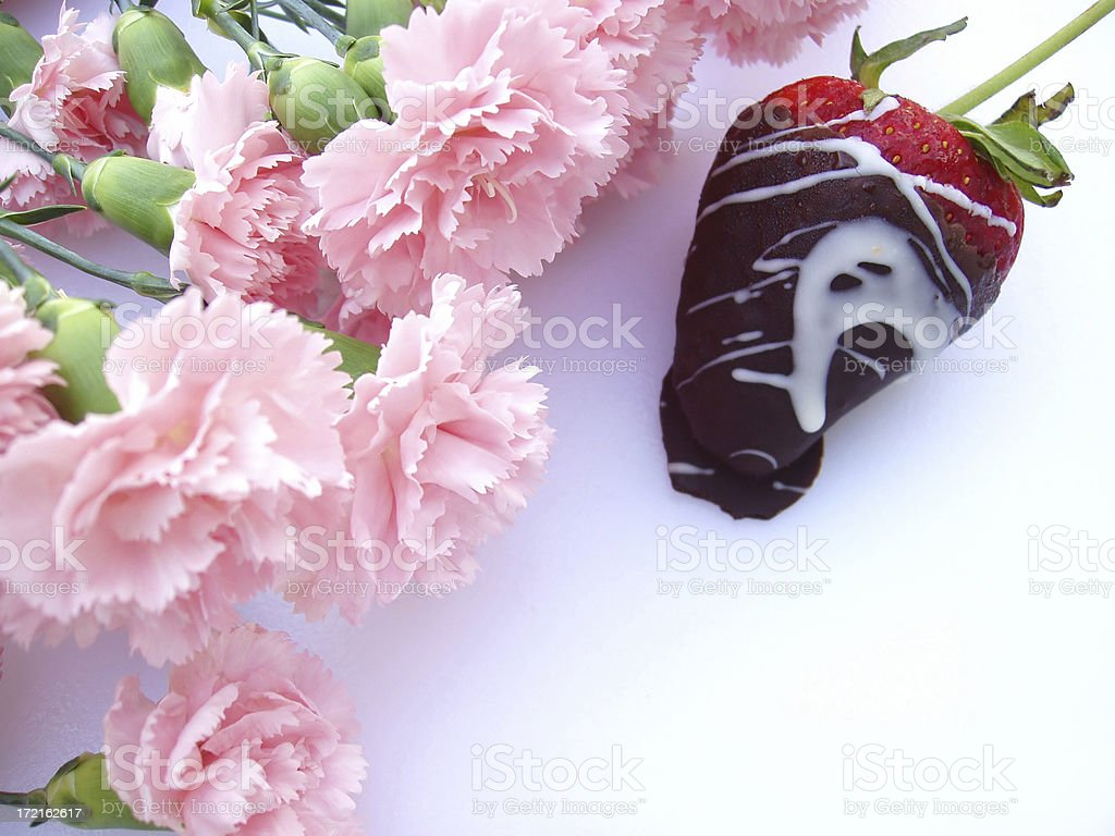 Chocolate Covered Strawberry & Flowers royalty-free stock photo