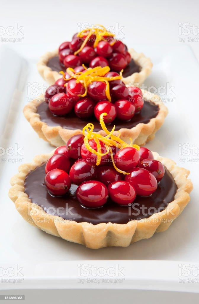 Chocolate Cranberry Tarts royalty-free stock photo