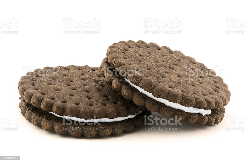 Chocolate cream cookies isolated on white stock photo
