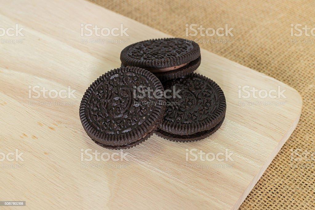 Chocolate cream cookies stock photo