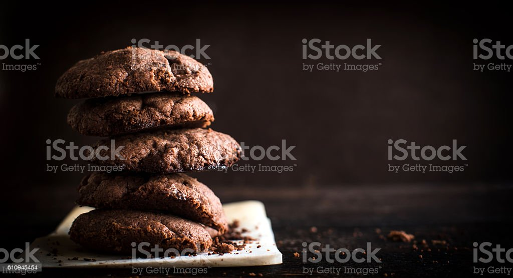 Chocolate cream cookies stock photo