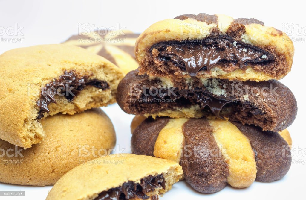 Chocolate cream filled biscuits stock photo