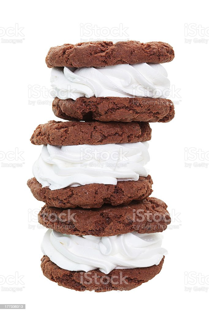 Chocolate Cream Filled Cookie Stack royalty-free stock photo