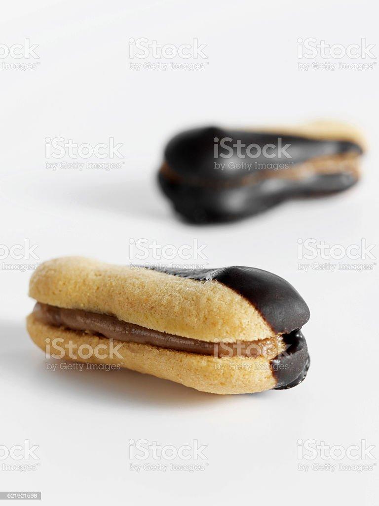 chocolate cream ookies stock photo
