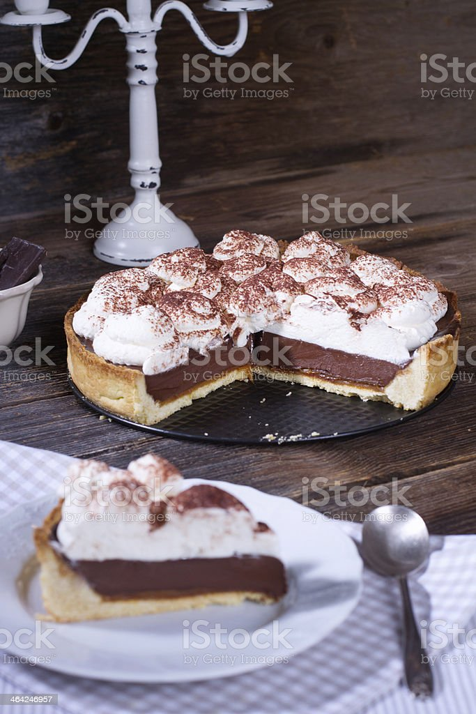 Chocolate cream pie stock photo