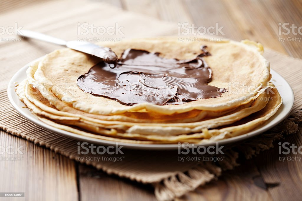 chocolate crepes stock photo