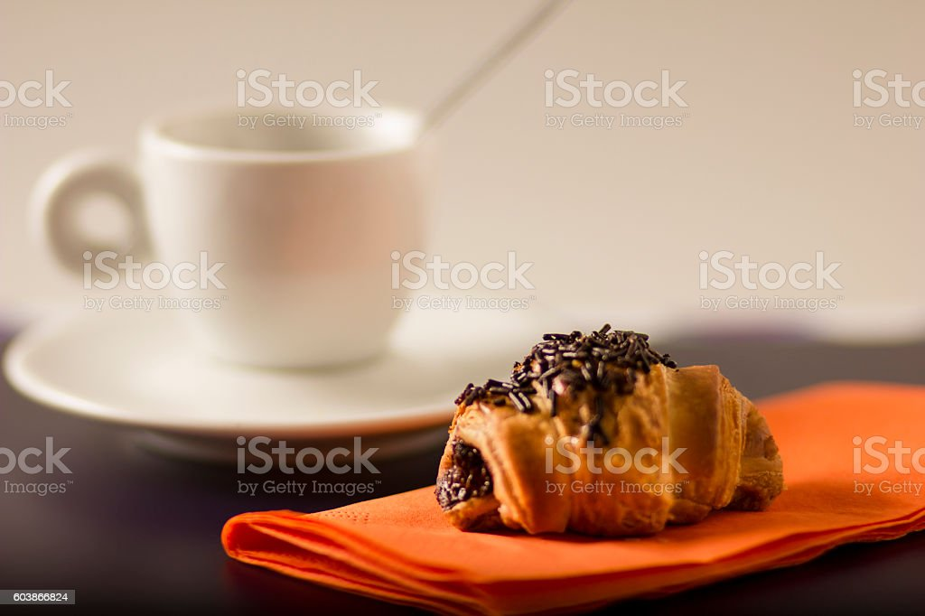 Chocolate croissant and coffe stock photo