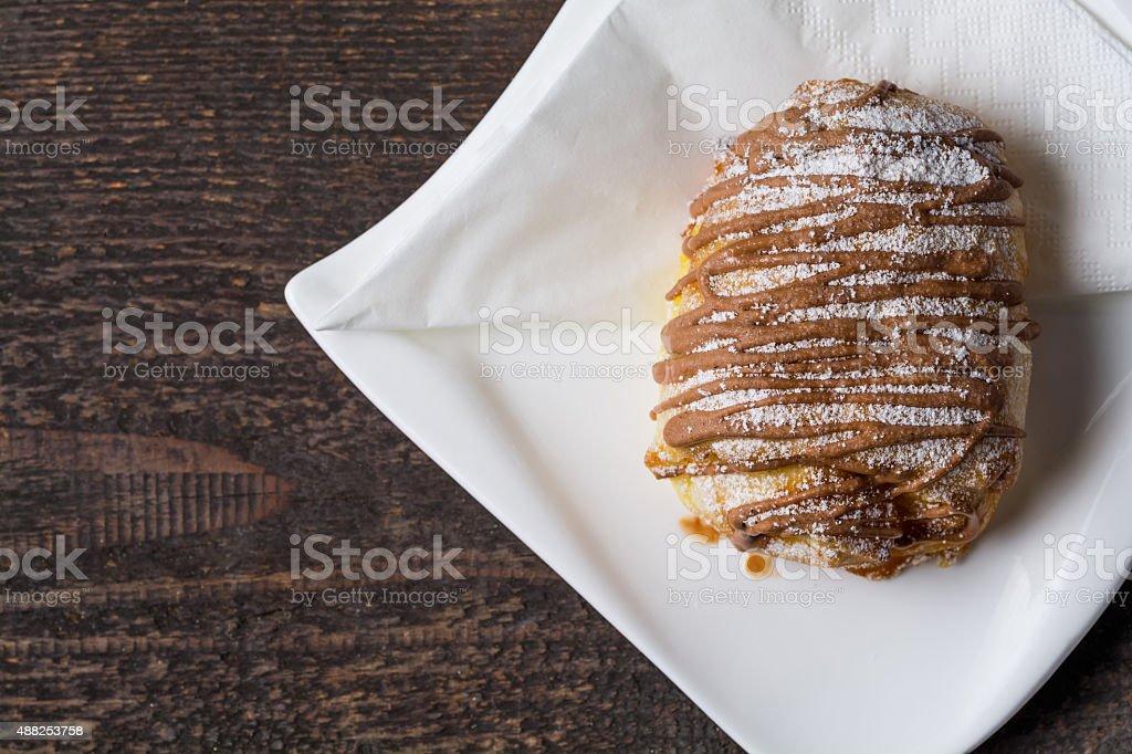 Chocolate croissant overhead royalty-free stock photo