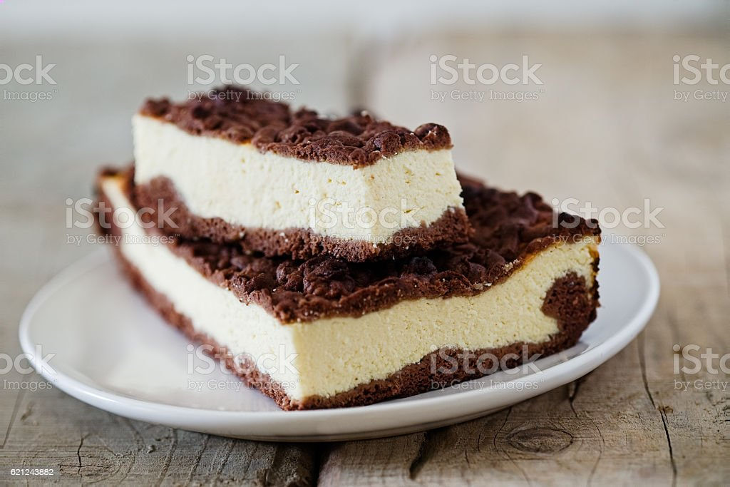 Chocolate Crumble Cheesecake stock photo