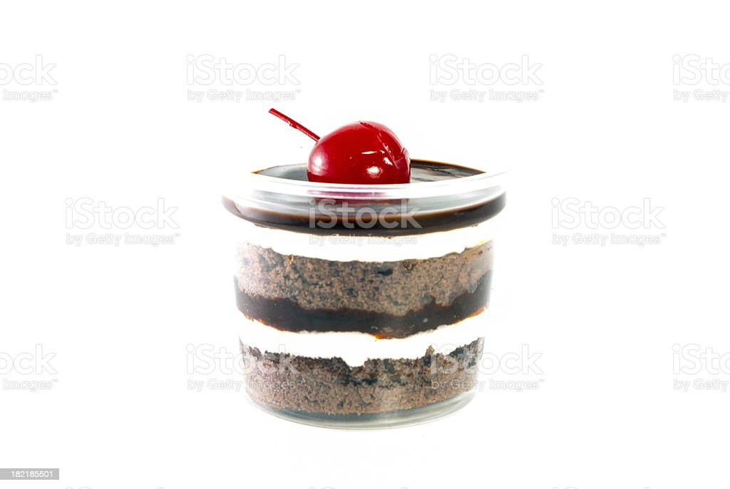 Chocolate cup cake and cherry on white background royalty-free stock photo