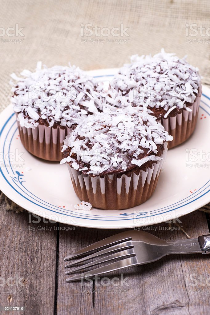 Chocolate Cup Cakes with Frosting and Coconut stock photo