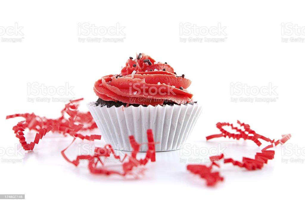 Schokolade Cupcake Red Windung Zuckerguss und Streusel – Foto
