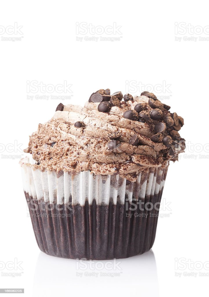 chocolate cupcake with cream isolated on white background royalty-free stock photo