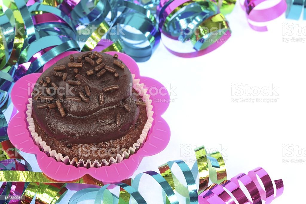 Chocolate Cupcake with Sprinkles and Ribbon royalty-free stock photo