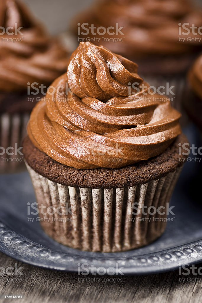 Chocolate Cupcake with Swirl of Chocolate Frosting royalty-free stock photo