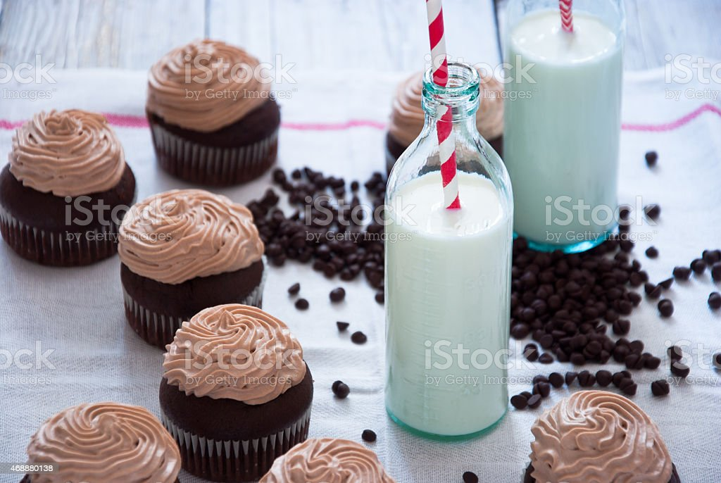 Chocolate cupcakes with Chocolate frosting stock photo