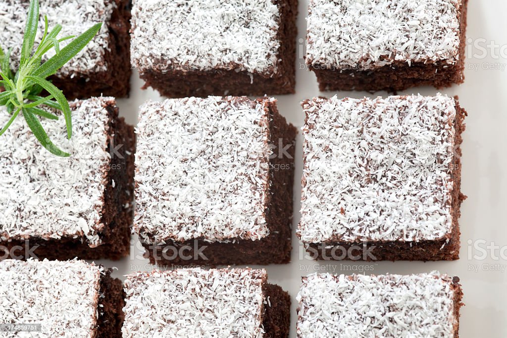 Chocolate dessert sprinkled with powdered coconut royalty-free stock photo