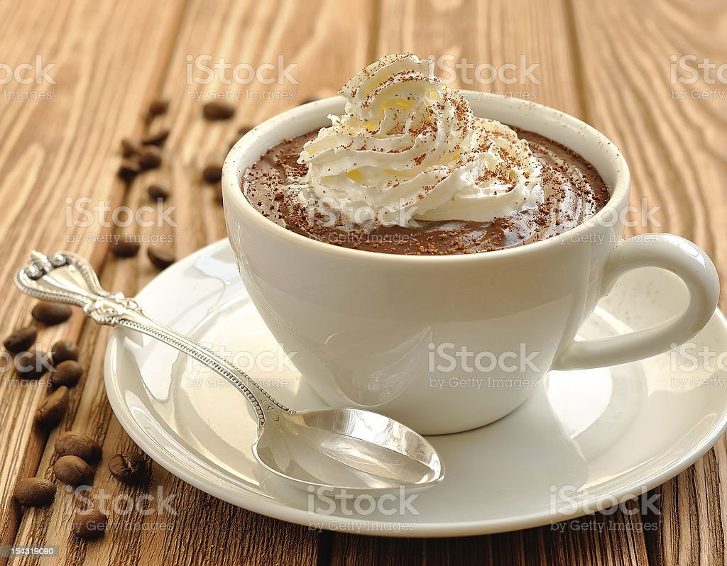 Chocolate dessert with whipped cream stock photo