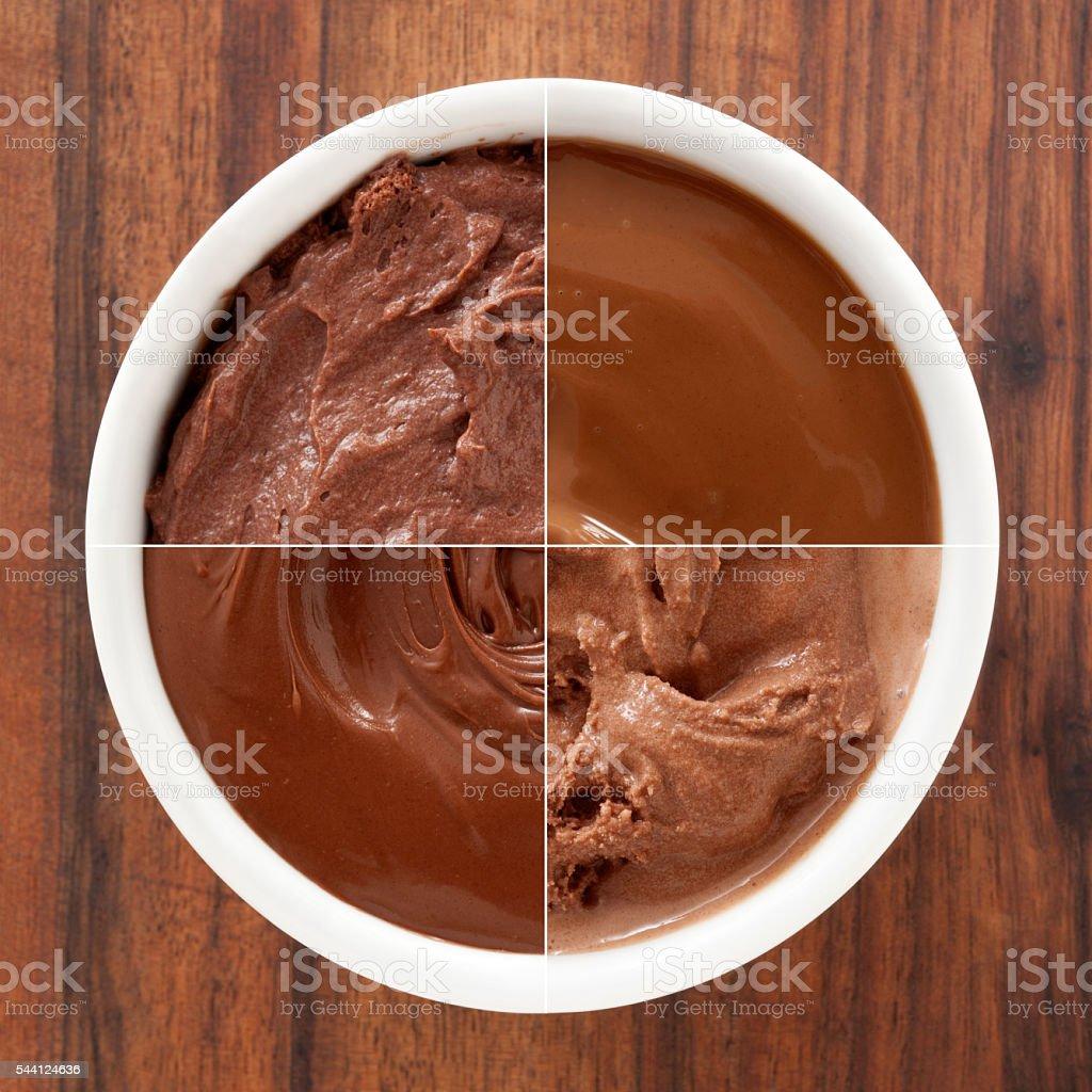 Chocolate desserts composition stock photo