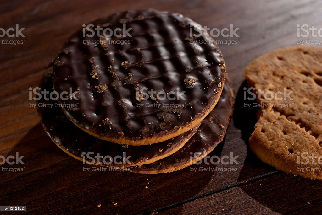 Chocolate Digestive biscuit. stock photo