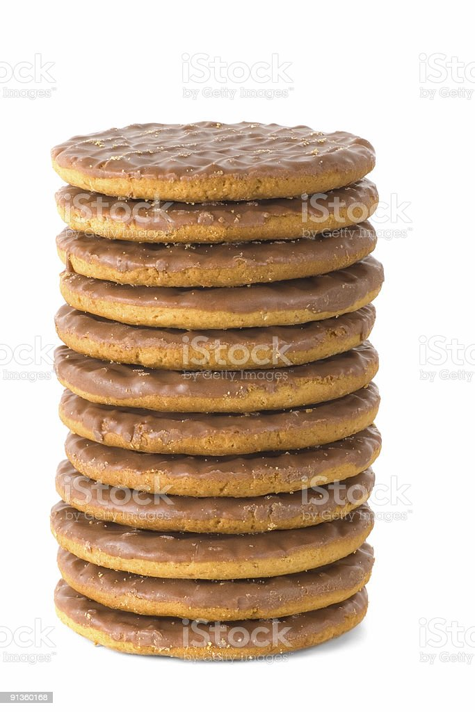 Chocolate Digestive Biscuit tower stock photo